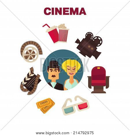 Retro cinema movie cinematography poster of actors and cinematograph equipment. Vector icons of filming clapboard, cinema ticket and 3D stereoscopic glasses, actress star award and film camera
