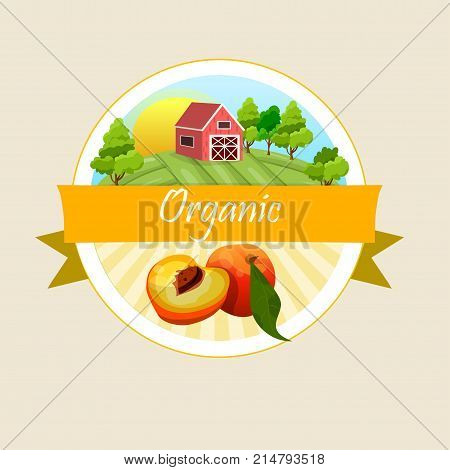 Colorful vintage Peach label poster vector illustration. symbol for jam and juice product label or grocery store, shop and farm market design. peach jam, sauce or juice label
