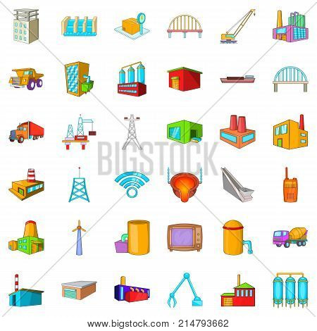 Windmill icons set. Cartoon style of 36 windmill vector icons for web isolated on white background