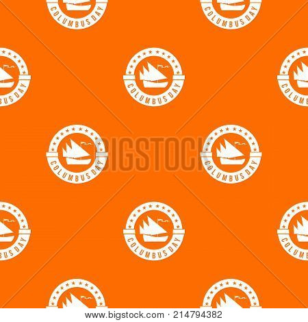 Columbus Day pattern repeat seamless in orange color for any design. Vector geometric illustration