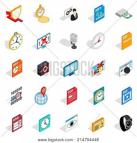 Internet broadcast icons set. Isometric set of 25 internet broadcast vector icons for web isolated on white background