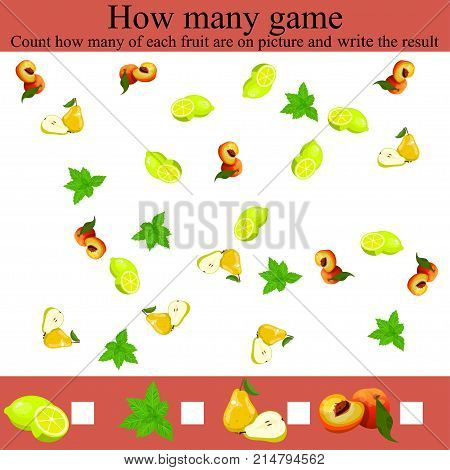 Learning mathematics, numbers. Mathematics task, worksheet.Tasks for counting for preschool kids, children. how many objcets game. Counting Game for Preschool Children.