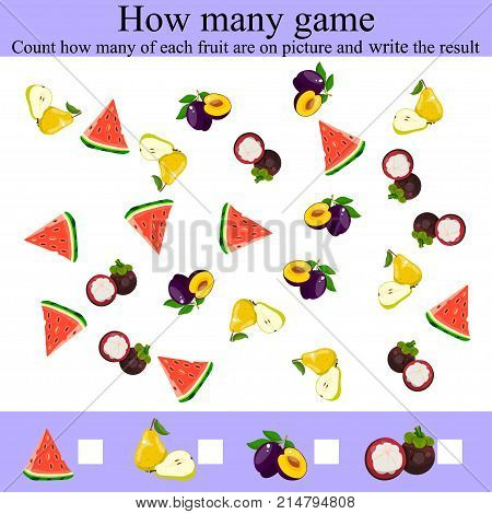 Learning mathematics, numbers. Counting Game for Preschool Children. Mathematics task, worksheet. Tasks for counting for preschool kids, children. how many objcets game