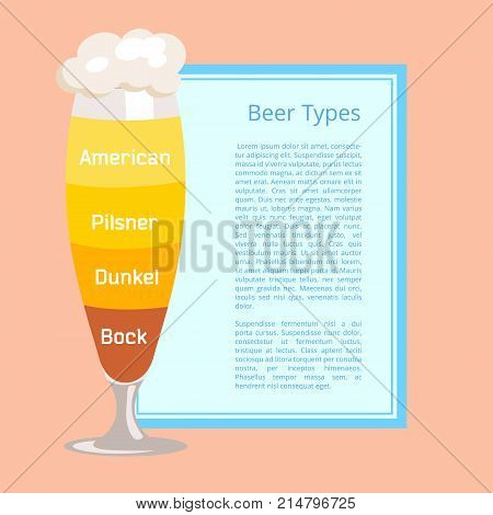 Beer types poster with pink background. Vector illustration of frothy footed pilsner glass containing layers of various lager and ale styles