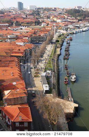 Portugal. Porto. Gaya. View Of Douro River Embankment