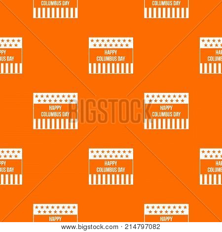 Happy Columbus day pattern repeat seamless in orange color for any design. Vector geometric illustration