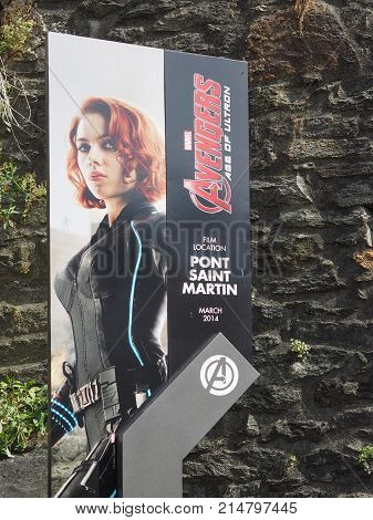 Scarlett Johansson Signpost In Pont Saint Martin