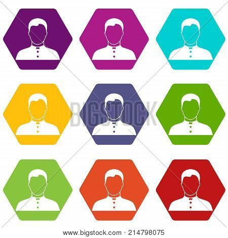 Pastor icon set many color hexahedron isolated on white vector illustration
