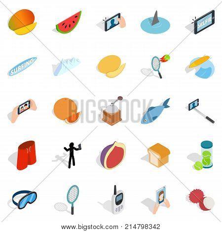 Vigorous icons set. Isometric set of 25 vigorous vector icons for web isolated on white background