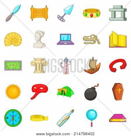 Archaeology icons set. Cartoon set of 25 archaeology vector icons for web isolated on white background