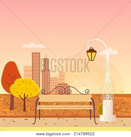Panorama on autumn city park. Bench is standing under streetlight in front of golden yellow trees. Background of vector illustration is misty cityscape