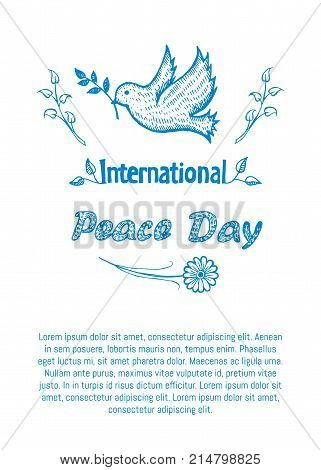International peace day vector illustration with dove holds twig in beak with text. Pigeon with branch as symbol of harmony and love isolated on white