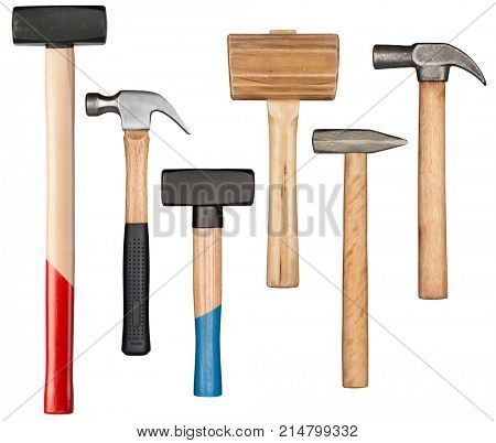 Various hammers and mallet isolated on white