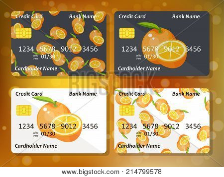 Bank credit card design with sweet oranges. Original credit or debit card design with orange. Great idea for credit or gift card design