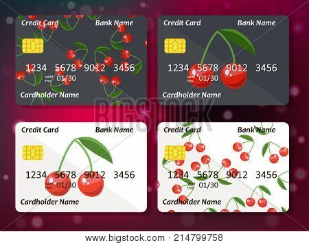 Bank credit card design with sweet cherry. Original credit or debit card design with cherry. Great idea for credit or gift card design