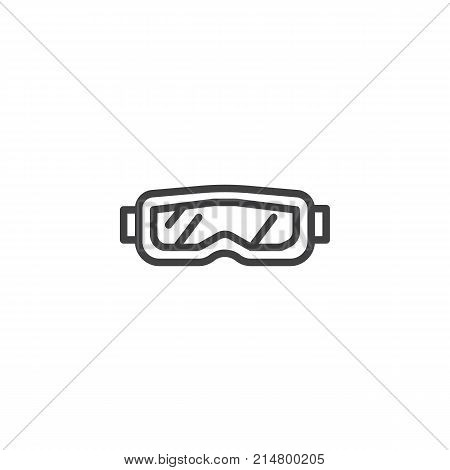 Snow glasses line icon, outline vector sign, linear style pictogram isolated on white. Protective goggles symbol, logo illustration. Editable stroke