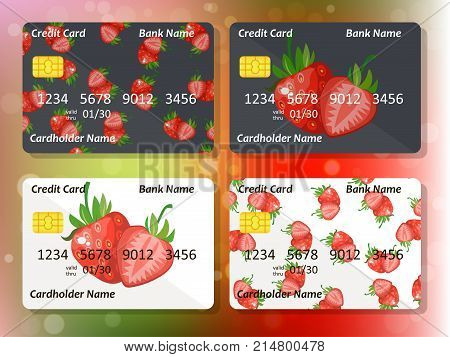 Design for credit card with strawberry. Bank or business collection. strawberry on frontal side of credit or gift card
