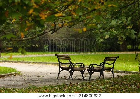 Two benches in a park on a windy day at autumn