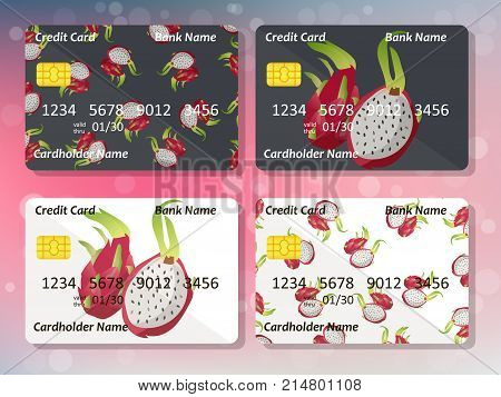 Design for credit card with pitahaya. Bank or business collection. pitahaya on frontal side of credit or gift card