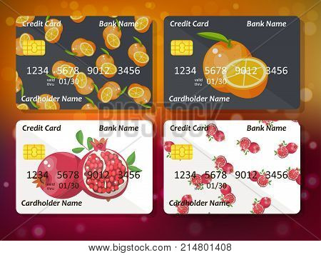 Bank credit card design with sweet oranges and pomegranates. Original credit or debit card design with orange. Great idea for credit or gift card design