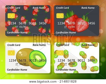 Design for credit card with strawberry and kiwi. Bank or business collection. strawberry and kiwi on frontal side of credit or gift card