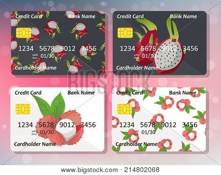 Design for credit card with pitahaya and lychee. Bank or business collection. pitahaya and lychee on frontal side of credit or gift card