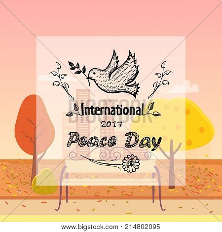 International peace day colorless vector with dove holding twig in beak. Pigeon as symbol of harmony and love on background of bench in autumn park