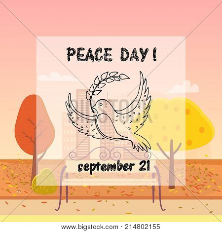 Peace Day symbol pigeon with olive branch in beak vector illustration. Dove with branch in concept of harmony and love on autumn city park background