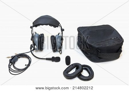 Pair set Air Holster Air Hands and Spare Components. Pilot headphones. Headphones for pilots. Aviation headphones for pilots.