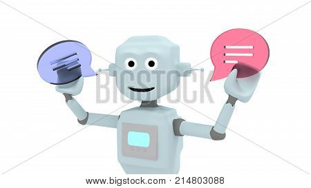 Robot holding a red and blue glass chat symbols in his hand chatbot concept 3D illustration