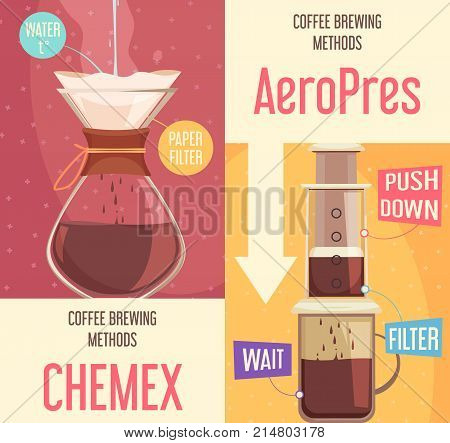 Coffee brewing methods vertical banners with simple paper filter and aeropress device flat vector illustration