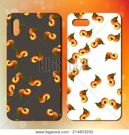Sweet juicy whole peach on back side of smarphone. phone cover design. Best choice for telephone cover or case design