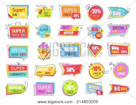 Collection of colorful super sale coupons and special offer tags of different shapes isolated vector illustration on white background