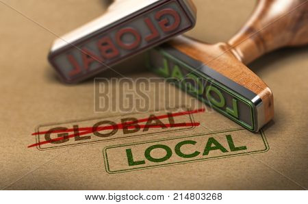 3D illustration of two rubber stamps with words global and local over kraft paper background Concept of consumption