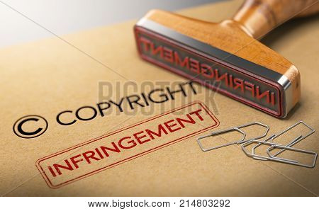 3D illustration of rubber stamp with the words copyright and infringement over kraft paper background Concept of intellectual property.