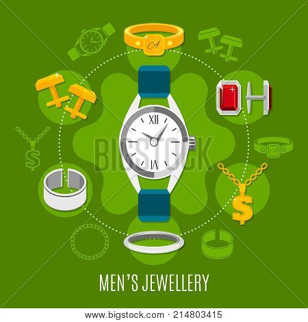 Mens jewelry round composition with hand watches, gold and silver studs, rings on green background vector illustration
