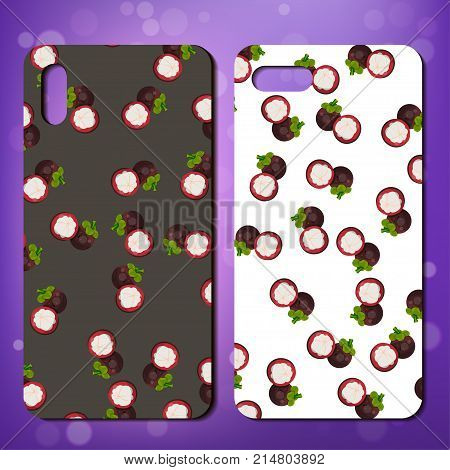 smarphone cover design with sweet mangosteen. Original proneor telephone cover design with mangosteen. Great idea for cover or case