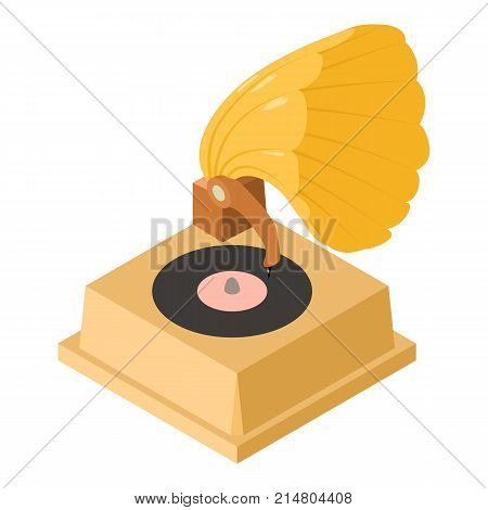 Gramophone icon. Isometric illustration of gramophone vector icon for web
