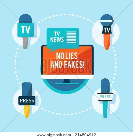 Mass media correspondent flat infographic concept with different journalistic microphones on light background vector illustration