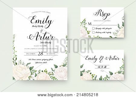Wedding Invitation floral invite Rsvp cute card vector Designs set: white garden Ranunculus Rose flower fern eucalyptus mistletoe green leaf & berry romantic trendy greenery forest rustic bouquets