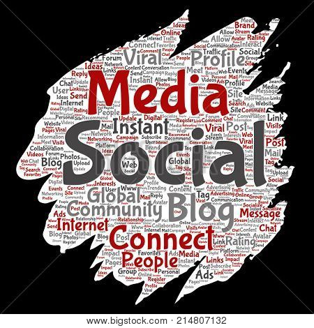 Conceptual social media networking or communication web marketing technology brush or paper word cloud isolated on background. A tagcloud for global community worldwide concept or advertising