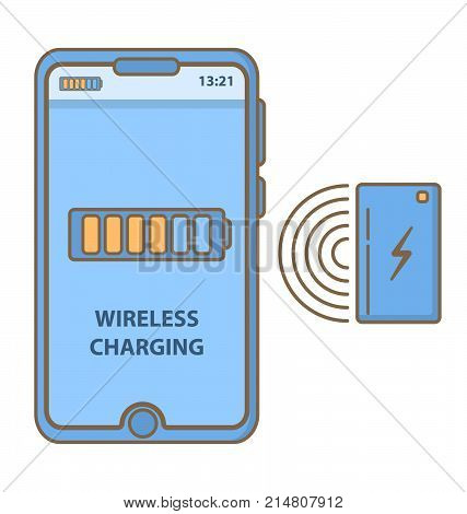 Wireless charging of the smart phone.Inductive charging station.charge batteries the device.Vector flat linear.Discharged and charged battery tablet,The indicator on the display of a digital device