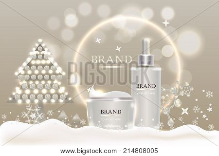 cosmetic containers with advertising background ready to use, holiday concept skin care ad design. Illustration vector.
