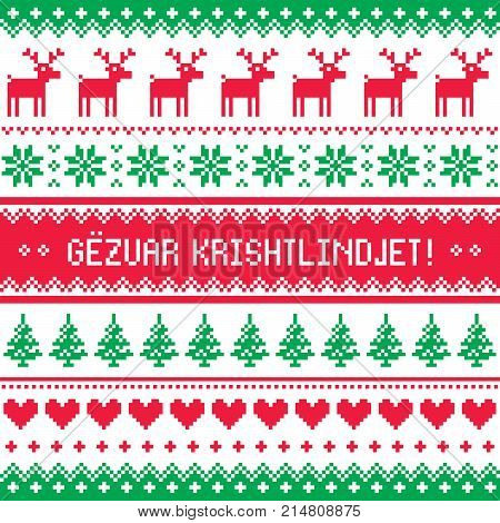 Gezuar Krishtlindjet - Winter red and green gretting card, for celebrating Christmas in Albania - Scandinavian style pattern
