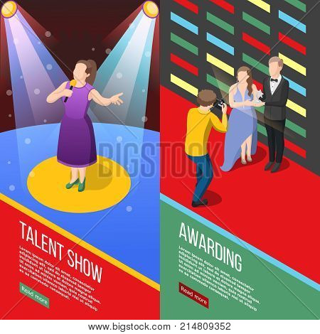 Set of vertical isometric banners with talent show tv program and performers with awards isolated vector illustration