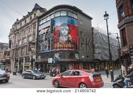 Shaftesbury Avenue, Soho, London-September 6,2017: Queen´s theatre on Shaftesbury Avenue on September 6 ,2017 in London ,United Kingdom