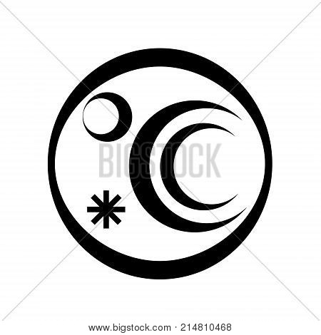 Refrigerator round logotype icon. Simple style vector illustration of refrigerator conditional image. Household appliance fridge icon for web or print design.