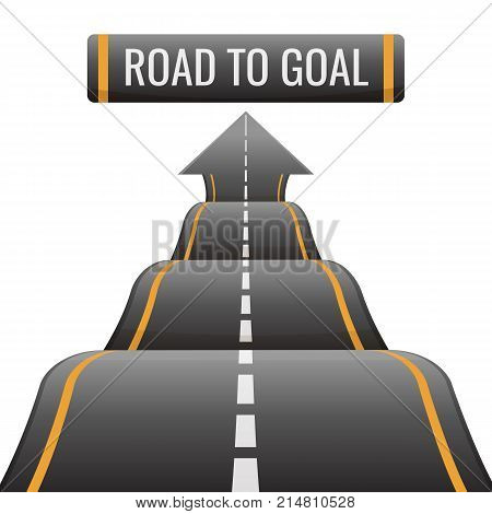Road to goal way to success, achievement new opportunities aspect. Speedway moving to new perspectives, abstract path with marking vector illustration