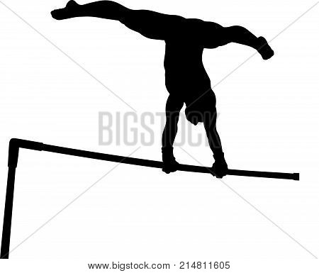 Uneven bars girl gymnast in artistic gymnastics black silhouette