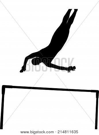 black silhouette uneven bars girl gymnast in artistic gymnastics